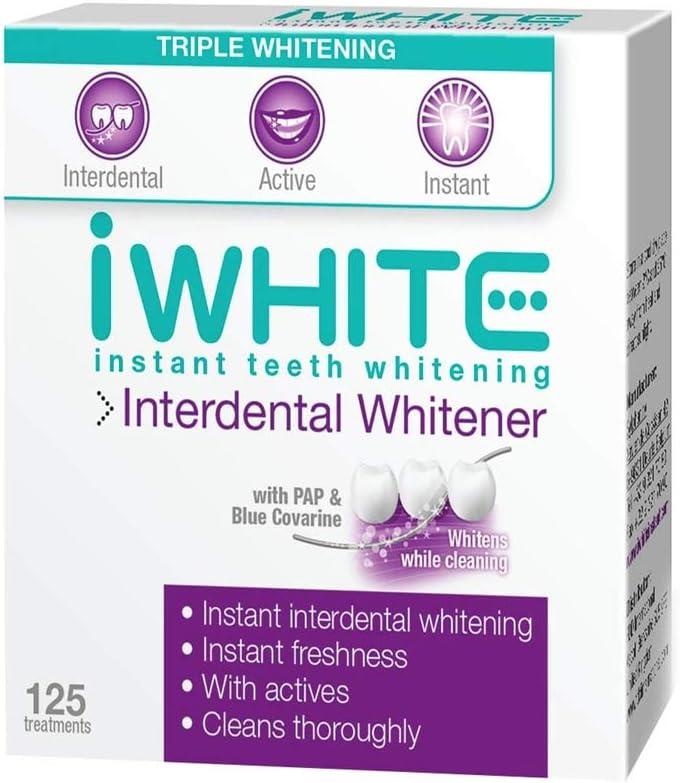 Blanqueador interdental iWhite Instant - Blanquea y fortalece - Elimina las manchas entre los dientes - Frescor instantáneo - Ingredientes probados clínicamente - Blanqueamiento óptico