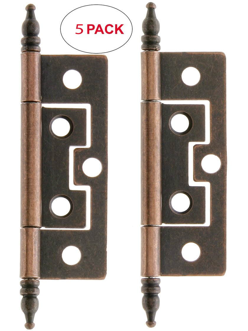 R-08BM-1557-AC-5 Pair of 2 1/2'' Non-Mortise Cabinet Hinges in Oil-Rubbed Bronze (5 Pack)
