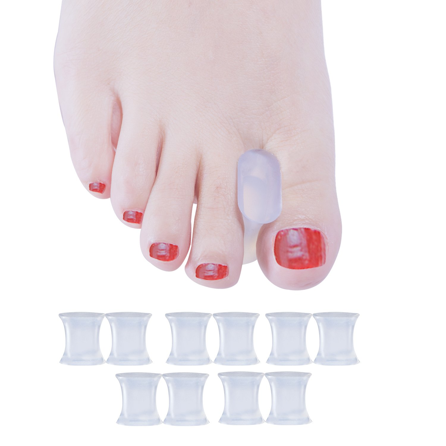 Welnove Gel Toe Spacers Toe Separators for Bunion, Overlapping Toes Size L-10 PCS