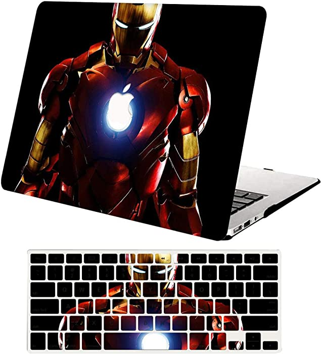 MacBook Air 13 Inch Case 2019 2018 Release A1932, AJYX Plastic Hard Shell Snap On Case with Keyboard Cover Compatible with Mac Air 13 inch with Retina Display & Touch ID, DH350 Ironman