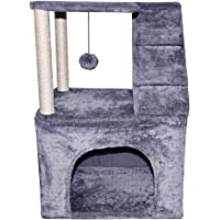 """WIKI 03G 25.6"""" Tall Two Layer Cat Tree Cat Sisal-Covered Scratching Posts Activity Centre Cat Tower Furniture Grey"""