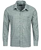 Tracht & Pracht - Men's Cotton Bavarian Traditional Alpine Shirt - Checked Longsleeves Green - XXL