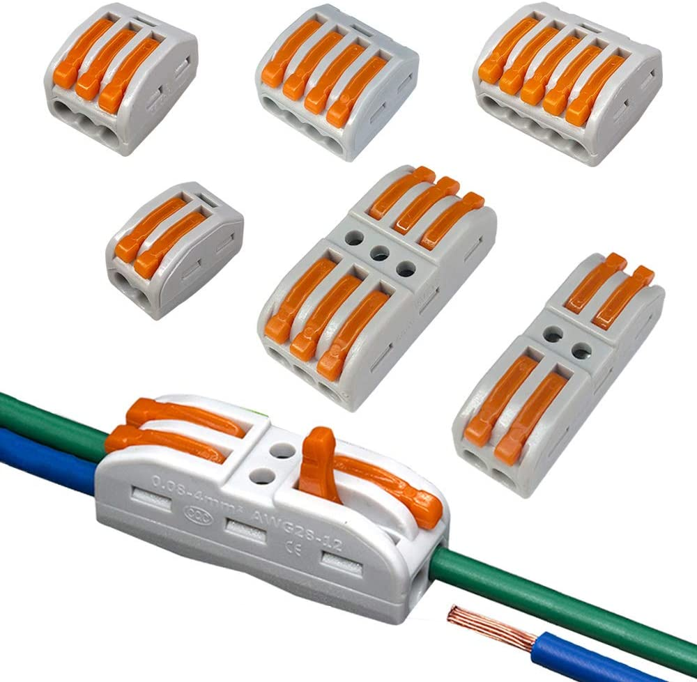 PCT-212//213//214//215, SPL-2//3 FULARR 120Pcs Premium Lever-Nut Wire Connectors Conductor Compact Wire Connector Quick Compact Splice Wire Conductor Cable Clamp Terminal Block Spring Connector