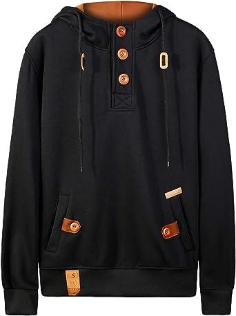 Men/'s Fashion Outwear Sweater  Warm Button Hooded Sweatshirt Hoodie Coat Jacket