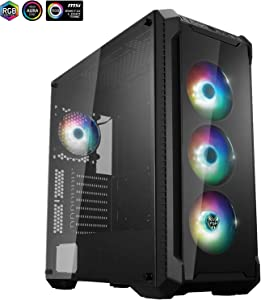 FSP E-ATX Mid Tower PC Gaming Case with 2 Tempered Glass Panels, 4 Addressable RGB Fans, ASUS & MSI Motherboard Sync (CMT520 PLUS)