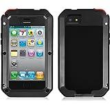 Alienwork Custodia per iPhone 4/4S Resistenza urti Cover Case Bumper prova di spruzzi Metallo nero AP434-01