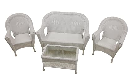 Amazon Com 4 Piece White Resin Wicker Patio Furniture Set 2