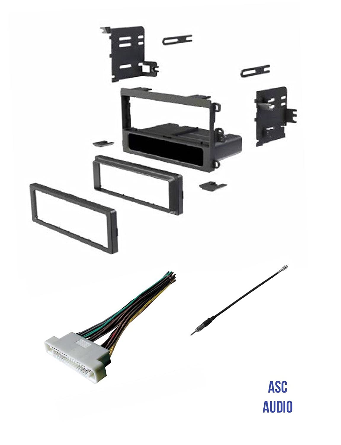 Asc Car Stereo Dash Kit Wire Harness And Antenna Adapter To Install A Single Din Aftermarket Radio For Some 00 06 Buick Lesabre 01 03 Oldsmobile Aurora