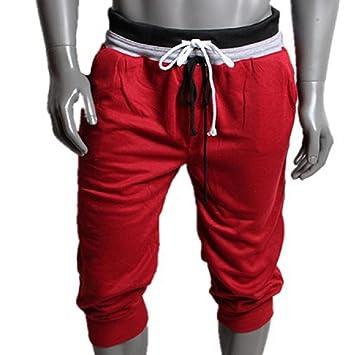 Sannysis Hombre de algodón Pantalones Cortos Gimnasio Sport Jogging  Pantalones (Rojo 5067cf081ad9