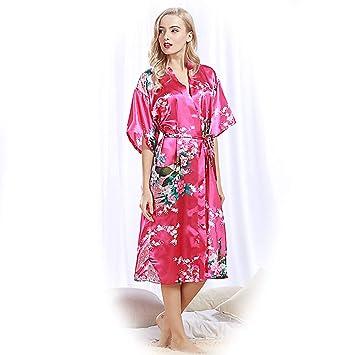Kimono Mujer Pijama Pijamas Verano Camison Raso Camisones Bata Invierno Batas Medium Textil de Largo Lenceria Saten Seda Albornoz Vestido Noche,rosered,2XL: ...