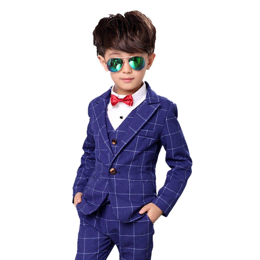 Gele Boy 4ピースフォーマルドレススーツ、ベスト+ブレザー+パンツ+蝶ネクタイ 6 ブルー B074N6R8MP