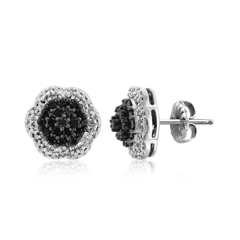 1.00 CTW Genuine Black & White Diamond Sterling Silver Earring