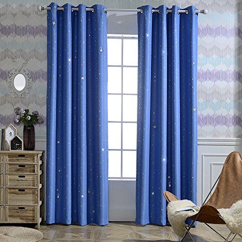 Jaoul Twinkle Star Kids Blackout Curtains, Grommet Top Window Drapes for Bedroom, 1 Panel, 52x84 Inch, Blue