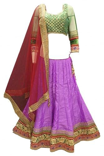 DCC2492 Viola e Rosso Tradizionale Chaniya Choli Indian Bollywood Lengha Choli