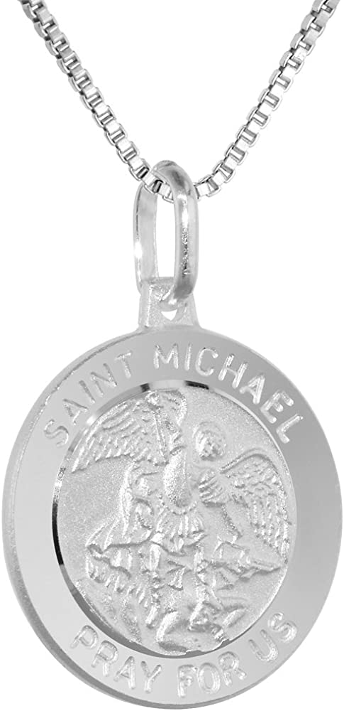 Sterling Silver St Michael Medal Necklace 3/4 inch Round Italy 0.8mm Chain