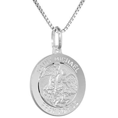 Sterling silver st michael medal necklace 34 inch round italy 16 sterling silver st michael medal necklace 34 inch round italy 16 inch box015 amazon aloadofball Images