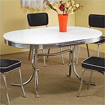 this item coaster 50s retro nostalgic style oval dining table chrome plated - Chrome Kitchen Table