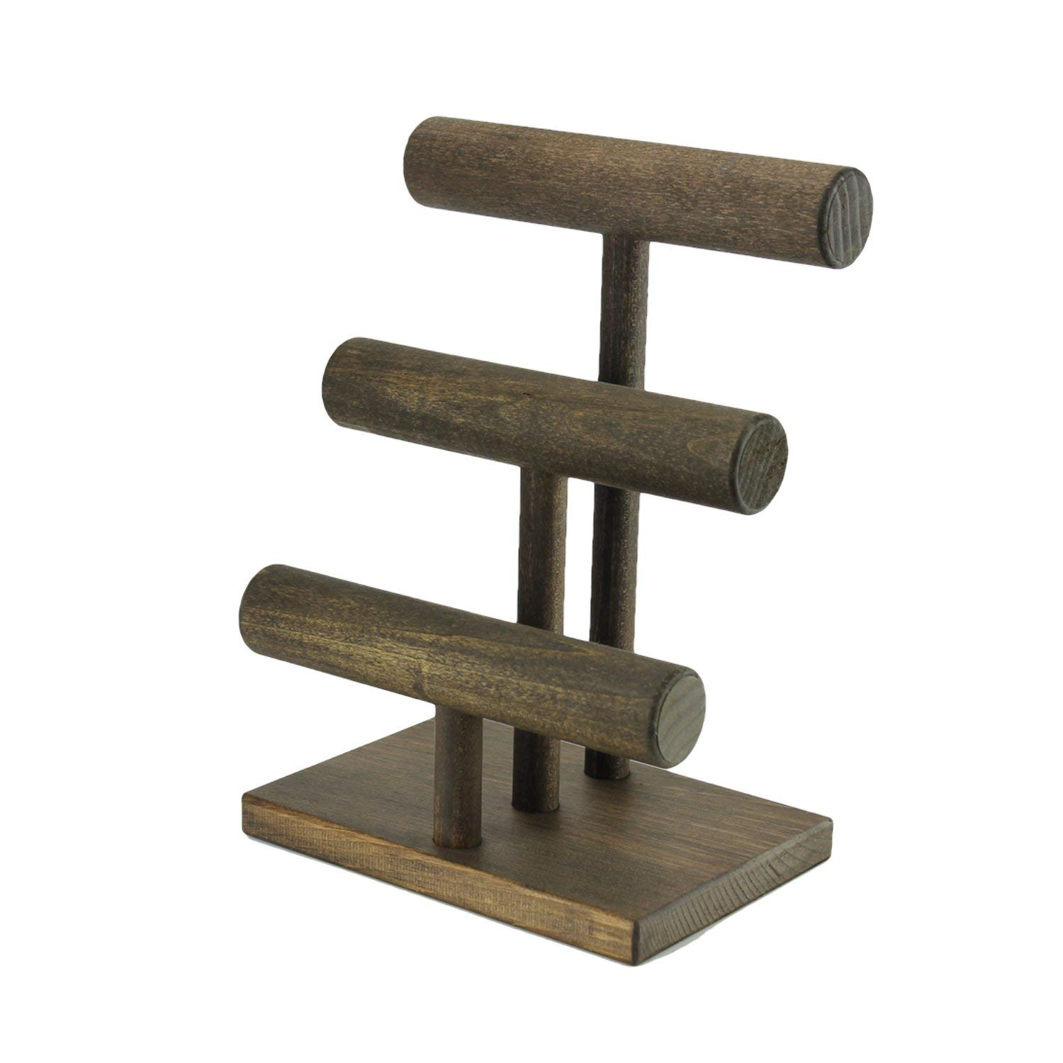 Jewelry Display Stand - Three Tier/Bracelet Watch Stand/Solid Wood T-Bar Display/Craft Show/Boutique Rustic Rack / 3 Tier/Espresso Color