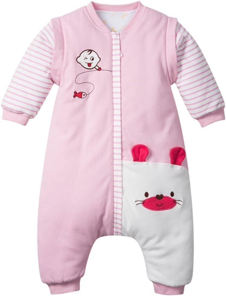 80//9-24 Months Baby Winter Sleeping Bag Anti Kick Cotton Sleep Sack with Detachable Sleeves 3.5 Tog