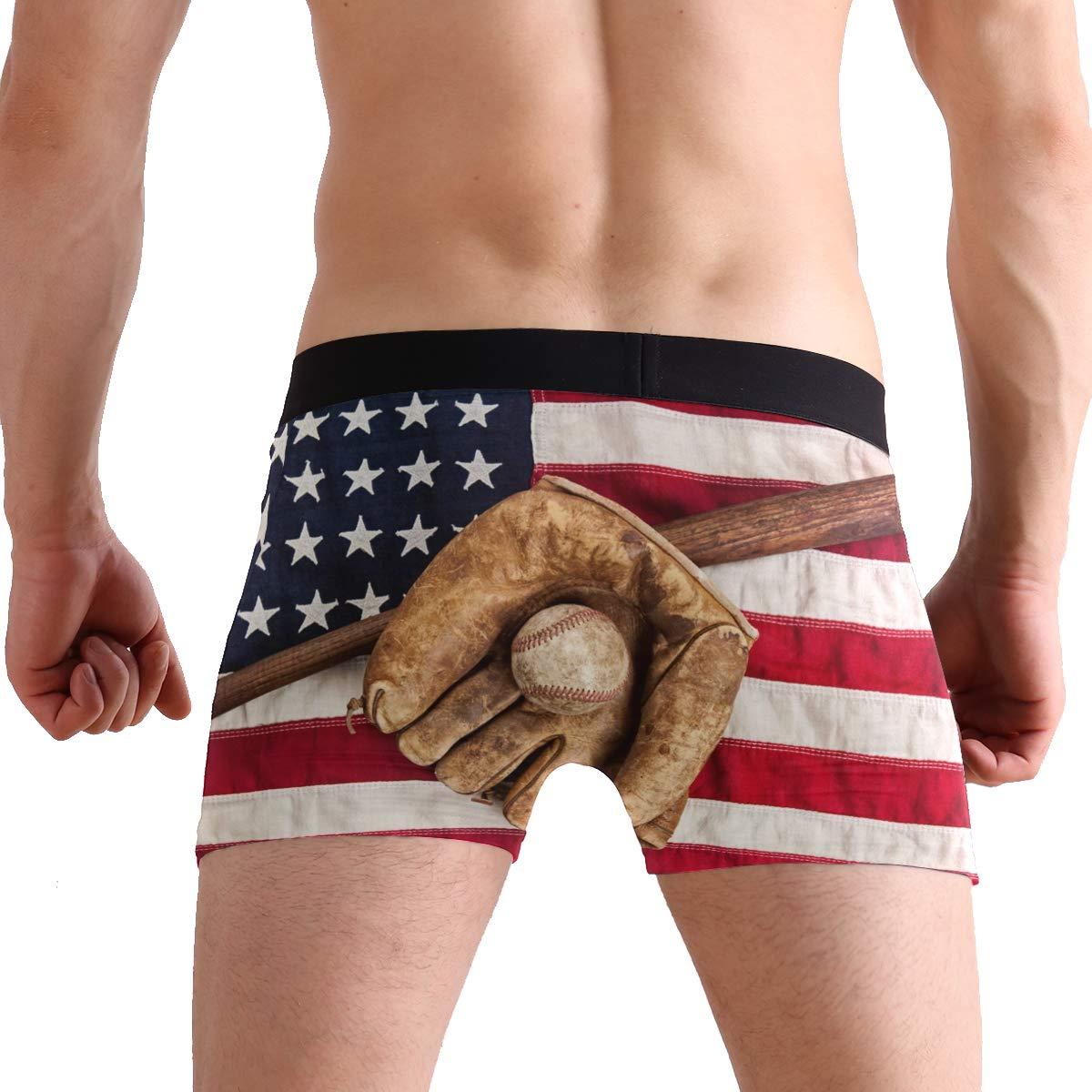 MOFEIYUE Mens Boxer Briefs Sport Baseball American Flag Soft Short Underpants Underwear for Men Boys
