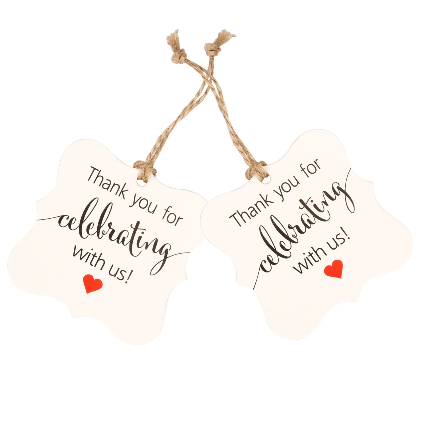 Aprince Paper Favor Gift Tags 100 PCS Thank You Tags Wedding Favor Gift Tags Thank You for Celebrating with Us White Square Tags with 20m Natural Jute Twine Perfect for Bridal Baby Shower Anniversary by Aprince (Image #2)
