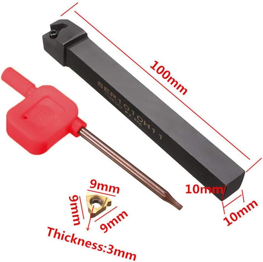 11ER 1//4AG60 Insert US Stock Agelloc Carbide Threading Inserts 100mm SER1010H11 Lathe Threading Turning Tool Holde