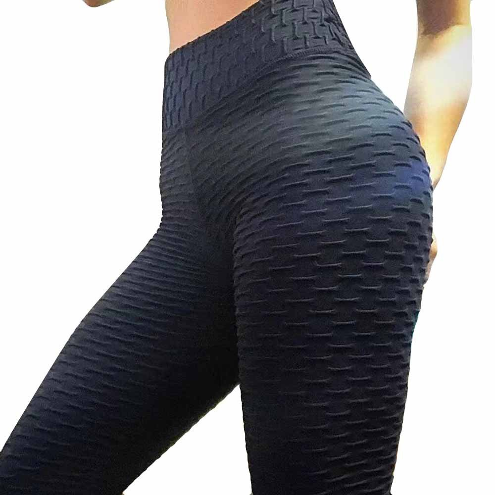 Fitness Pants for Women, High Waist Solid Color Striped Pleated Workout Running Soft Yoga Athletic Pants (S, Black)