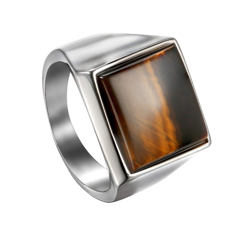 OIDEA Anello in acciaio inox argento per uomo e donna, classico retrò charm occhio di tigre pietra anello da uomo anello in acciaio inox anello misura 54 (17,2) – 65 (20,7) 2) - 65 (20