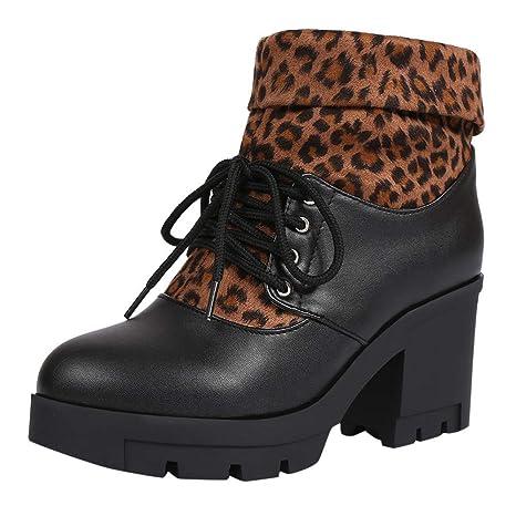 LILICAT❋ Tacón Alto con Botines de Encaje cosidos con Estampado de Leopardo, Martin Boots