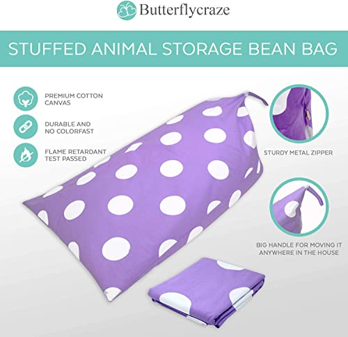 Butterfly Craze Stuffed Animal Storage Bean Bag Chair – Stuff n Sit Toy Bag Floor Lounger for Kids, Teens and Adult Extra Large 200L 52 Gal Capacity Premium Cotton Canvas Purple
