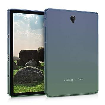 kwmobile Funda para Samsung Galaxy Tab S4 10.5 - Carcasa [Trasera] para Tablet de [Silicona TPU] - Cover en [Azul/Verde/Transparente]