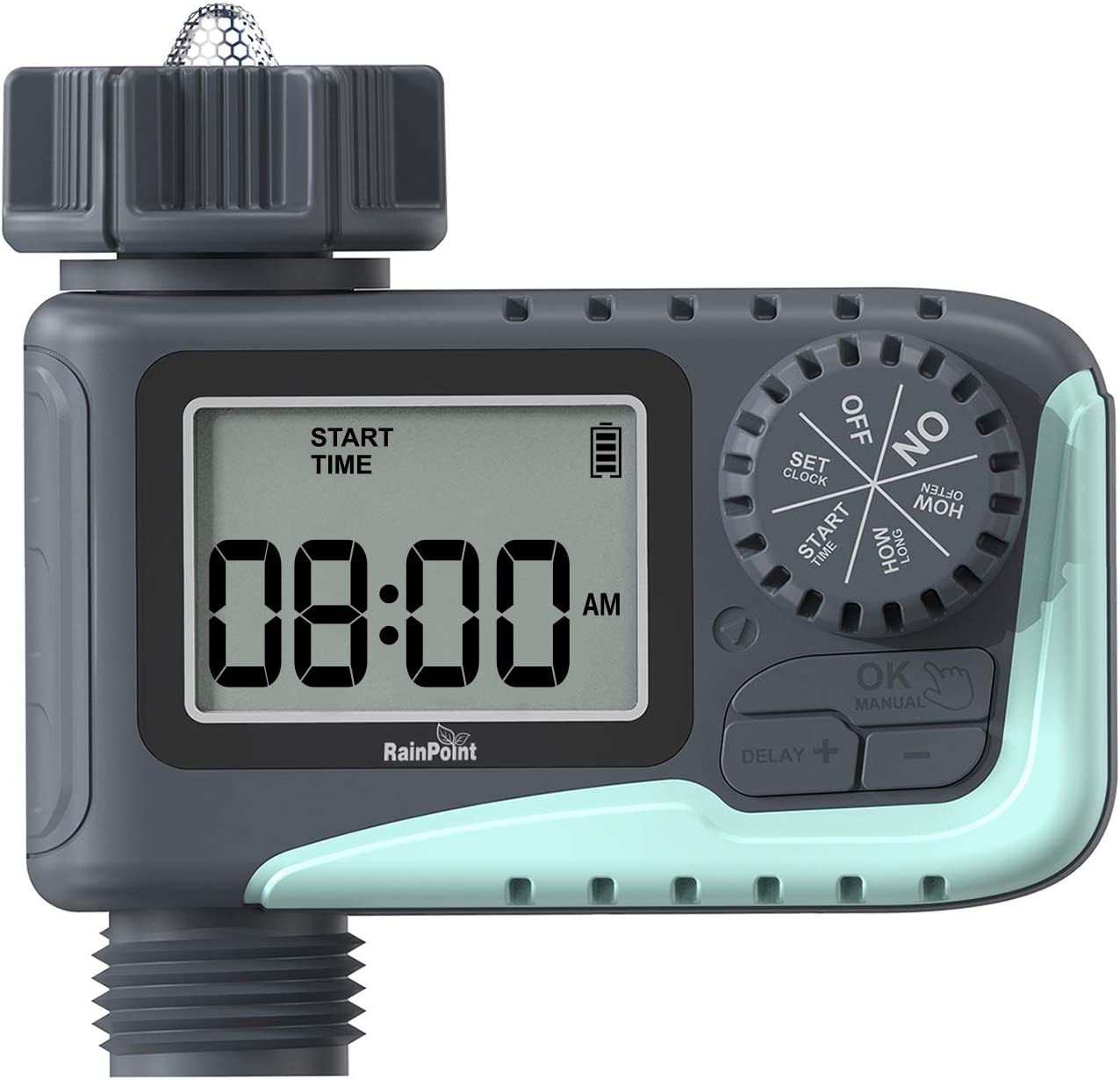 Sprinkler Timer Outdoor, RAINPOINT Digital Water Timer with Rain Delay Auto and Manual Watering,Programmable Hose Timer IPX5 Waterproof,Garden Irrigation Timer for Garden Lawns Plants,Battery Operated