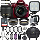 Nikon D3400 24.2 MP DSLR Camera (Red) Video Kit with AF-P DX NIKKOR 18-55mm f/3.5-5.6G VR Lens + LED Light + 32GB Memory + Filters + Macros + Deluxe Bag + Professional Accessories