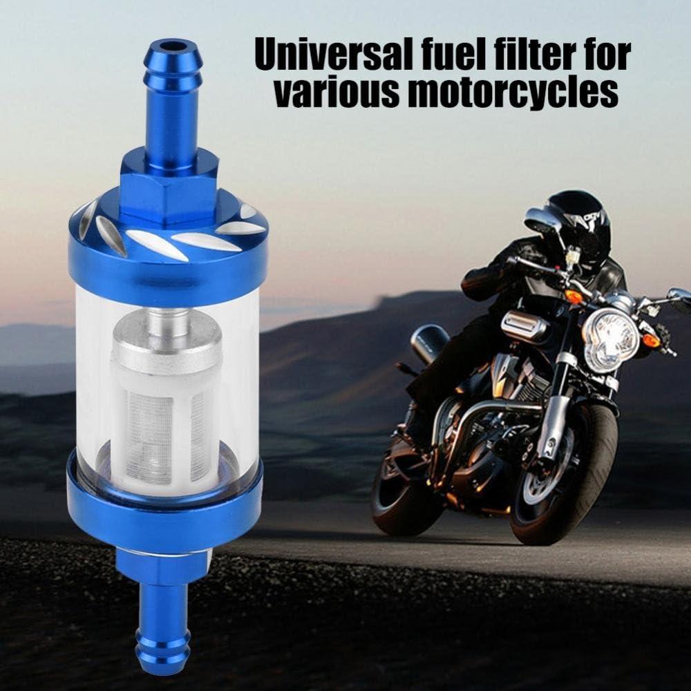 KIMISS Metall Glas Inline Gas /Ölfilter 8mm Gewinde Ersatz f/ür Motorrad Blau
