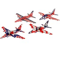 Lot Of 12 Assorted Patriotic Theme Holographic Plane Glider Toys