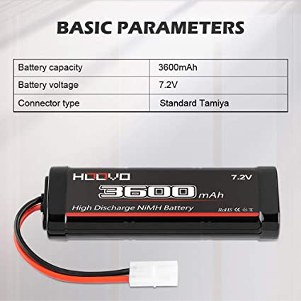 2 Pack HOOVO 7.2V 3600mAh RC NiMH Battery with Tamiya Plug for RC Car RC Truck Tr LOSI Associated HPI Kyosho Tamiya Quadcopter Drone Hobby
