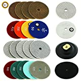 Stonecraft - 4'' inch Diamond Polishing Metal Bond Pads Wet/Dry 11 Piece Set with White Buff + Backed Pad for Granite Marble Concrete (White)