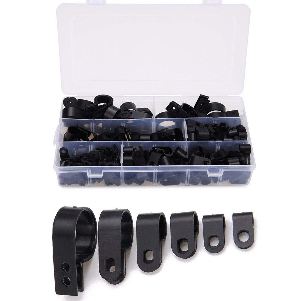 Cable Clamp 200 Pcs Black Nylon Screws Plastic R-type Cable Clamp Clips Fasteners Assortment for Cable Conduit 6 Sizes 5mm to 25mm