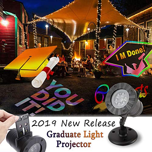 Light Projector for 2019 Graduation Party Decoration Supplies Sets, 2019 Upgrade Version Pattern LED Projector Landscape with Congrats/Graduation Cap/You Did It/IM Done/Diploma Pattern