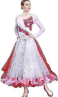 Robe de Compétition de Danse Féminine Manches Longues Costumes de Danse Moderne Robe à Paillettes Toute la Longueur Rongg