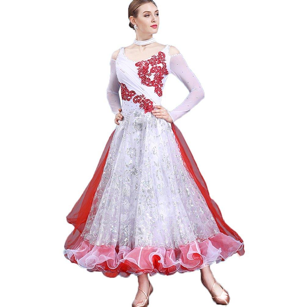 rouge XL MoLiYanZi Femmes Exécution Costumes Jupe de Danse Moderne Sequins Swing Manches Longues Valse Robes de Danse de Salon Standard nationales VêteHommests de compétition