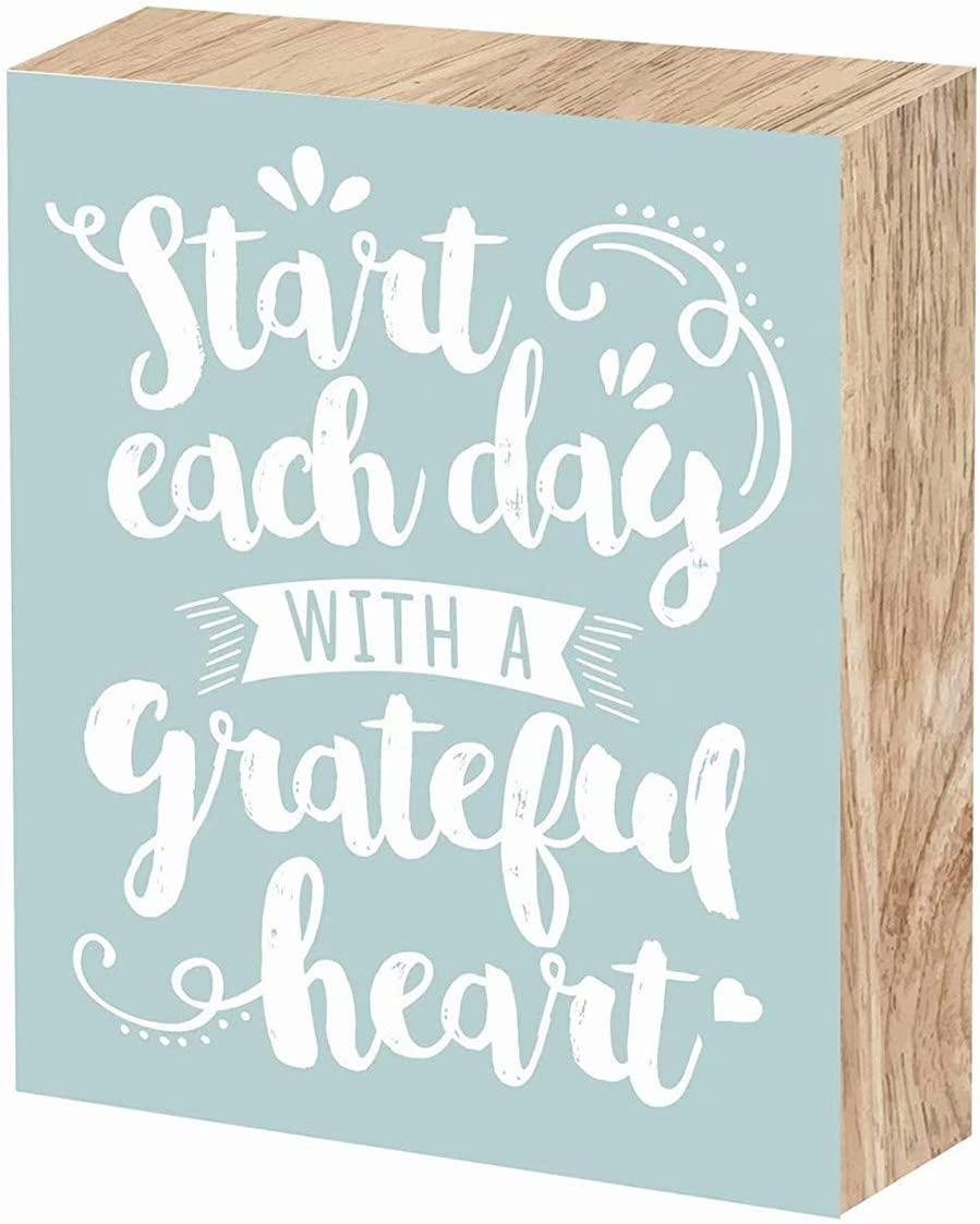SANY DAYO HOME Start Each Day with A Grateful Heart 10 x 8 inches Wood Box Signs with Inspirational Saying for Office, Home and Wall Farmhouse Decor