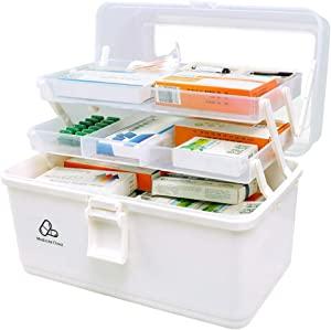 Hershii Plastic Medical Storage Containers Medicine Box Organizer Home Emergencies First Aid Kit Pill Case 3-Tier with Compartments and Handle (Large, White)