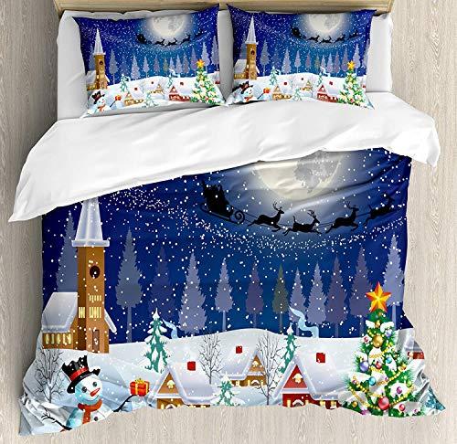(Christmas 4 Piece Duvet Cover California King, Winter Season Snowman Xmas Tree Santa Sleigh Moon Present Boxes Snow and Stars, Comforter Cover with Zipper Closure and 2 Pillow Shams, Blue White)