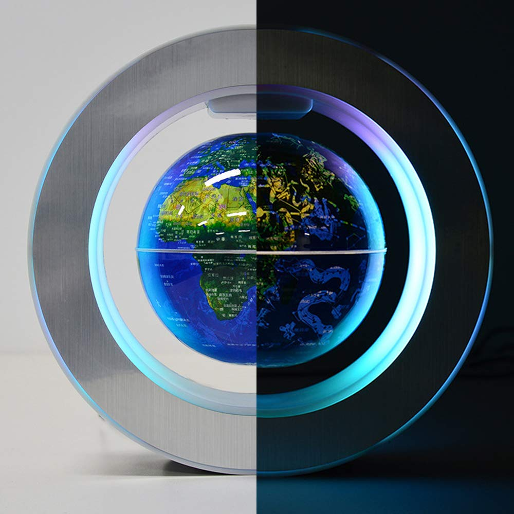 YANGHX Magnetic Levitation Floating World Map With Constellations LED Light Globe 2 in 1 Anti Gravity Suspending In The Air Decoration Gadget Children's GIFT ( Blue 6 inch ) by YANGHX