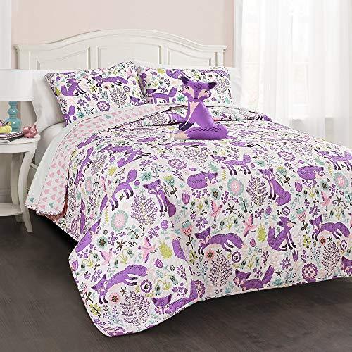 Lush Decor Pixie Fox 4 Piece Quilt Set, Full/Queen, Purple/Pink (Renewed)