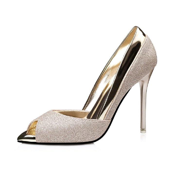Zapatos - Decolleté para Mujer - Color Dorado - Tacón Alto - Talla 37 EU - Idea de Regalo de cumpleaños - Navidad - Fiesta