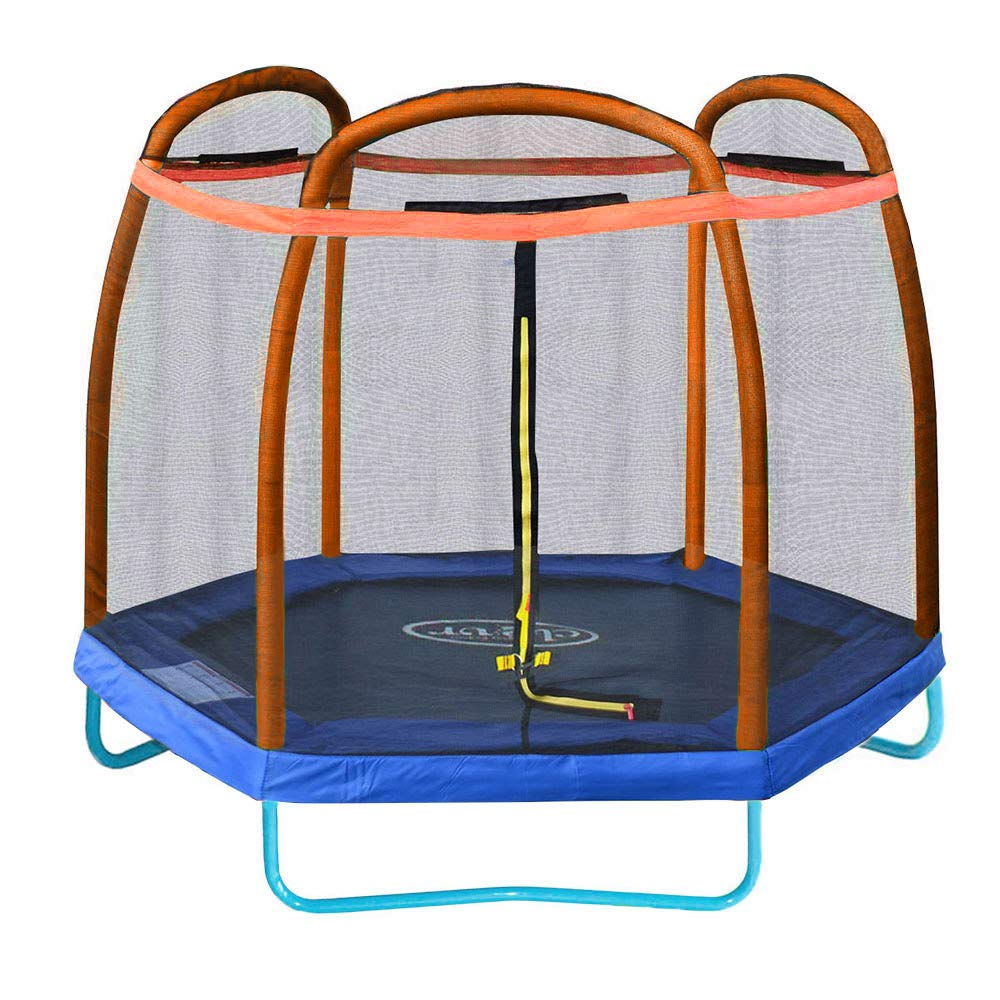 Clevr 7ft Kids Trampoline and Safety Enclosure Net & Spring Pad, 7-Foot Outdoor Round Bounce Jumper 84'' Indoor/Outdoor, Built-in Zipper Heavy Duty Frame, Orange and Blue | Great Birthday Gift
