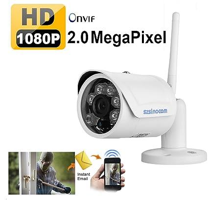 Szsinocam - 1080P H.264 Impermeable P2P WIFI Cámara IP de Vigilancia Seguridad (2.0
