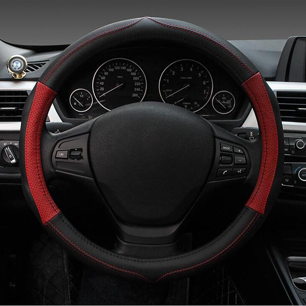 Auto Accessories Shock Absorption Comfortable and Beautiful Microfiber Leather Steering Wheel Cover Universal 38cm, Red